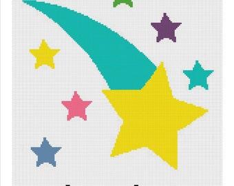 Crochet Graph Pattern Chart Pattern Stars Falling Stars Afghan Blanket