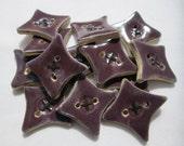Purple Diamond Buttons | Handmade Ceramic | 3 Buttons