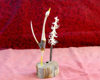 Whimsical Hand Carved Crane with Pine Tree