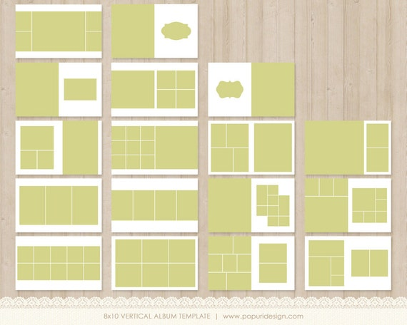 instant download 8x10 vertical album template for by popuridesign. Black Bedroom Furniture Sets. Home Design Ideas