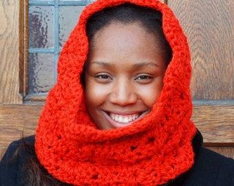 Mirror Lace Chunky Bulky Crochet Cowl / Scarf in Orange