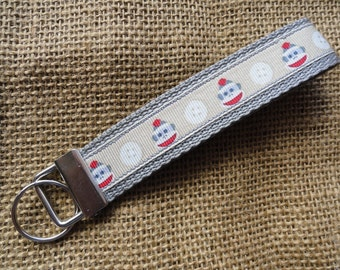 Sock Monkey Key Fob Wristlet Key Chain