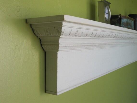 White Shabby Chic Coat Shelf / 67 Long By HarvestTreasuresInc