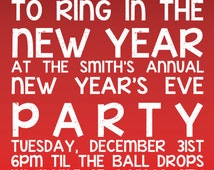 Holiday New Year's Eve Party Invitation, Digital File