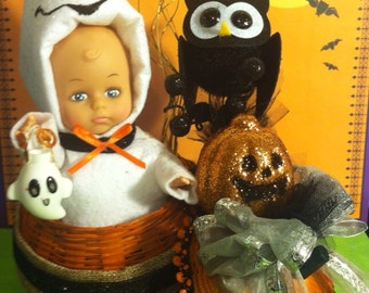 Boo baby ghost pumpkin halloween decoration centerpiece