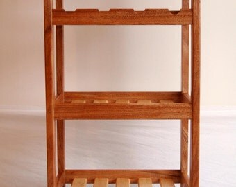 African Mahogany and Hardmaple Rolling Kitchen Cart with Wine Rack