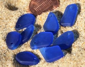 6 Pairs (12pcs) Mixed Mini Flat Freeform Cobalt Blue Earring Size (7-12X15mm) Cultured Sea Glass Beach Glass Beads Pendants - 12 Pieces