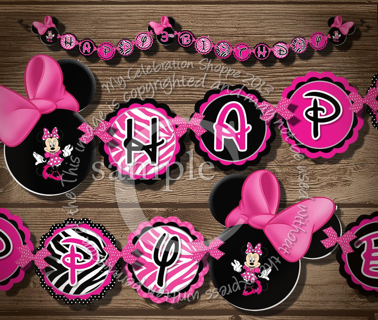 Minnie Mouse Happy Birthday Banner Pink And Zebra Minnie