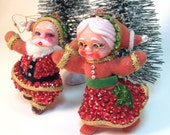 Vintage Flocked Hand Sequined Santa and Mrs. Claus Christmas Tree Ornaments
