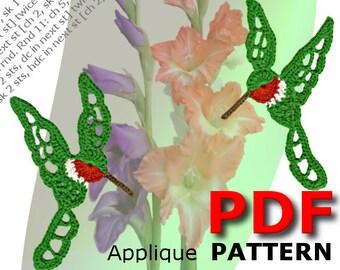 Crochet | Crochet pattern | Applique pattern | Crochet HUMMINGBIRD