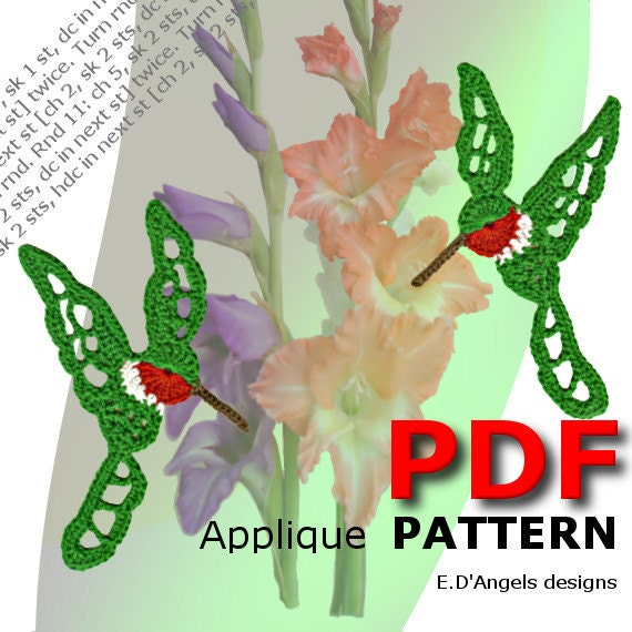 crochet pattern crochet two hummingbirds applique pattern pdf instant download 2 in 1 looking to the left and looking to the right