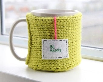 Personalized Mug Cozy, Be Happy Cozy, Green Mug Cozy, Mug Warmer, Cosy, Tea Mug Cozy, Cup Sleeve, Cozy, Tea Mug Cozy, Coffee Sleeve