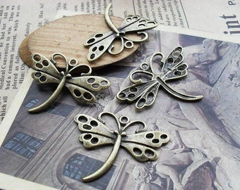 10pcs 27x36mm Antique Bronze Dragonfly Charms Pendants Connectors Jewelry Findings AH2877