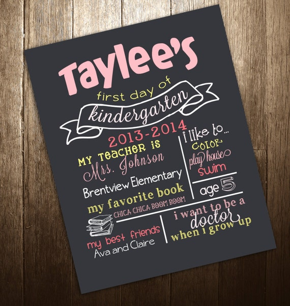 First or Last Day of School Chalkboard Poster Sign Printable - DIgital ...