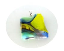 Hot Fire Glass Pendant - Yellow Green Violet Blue - Fused Glass