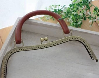 wooden bag handles, bag supply,26cm (10 1/2inch) metal purse frame large size