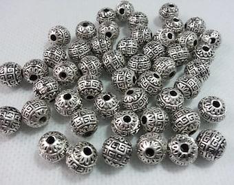 20 pcs  9mm Tibetan  Beads  , Antique Silver Beads ,Tibetan Style Beads ,  Metal Beads , Metal Spacer , Wholesale Beads  , Tribal Beads