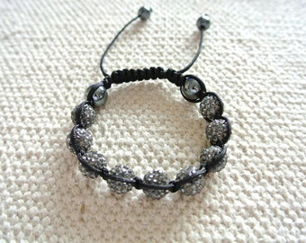 Handmade Shamballa Bracelet Gray with Magnetite