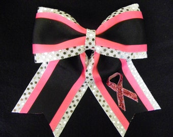Breast Cancer Awareness Hairbow - Pink Black and Silver Hairbow