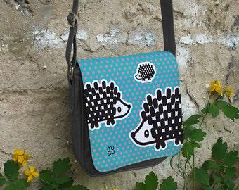 Hedgehog Shoulder Bag Cross body black Polyester Canvas blue jeans