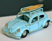 Surf's Up Light Blue Vintage VW Volkswagon Beetle, Bug with Surfboard - Nursery Kid Room Office Decor - Perfect for Beach Wedding Ring Boy