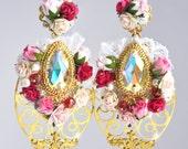 Floral White  Baroque Earrings Swarovski Romantic Wedding Pearls Woman Flowers 24 k gold seed beads Bridal Bridesmaids
