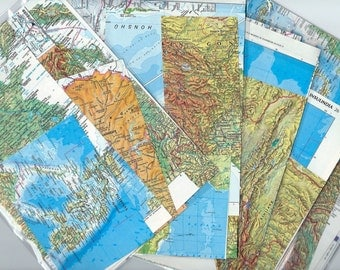 20 Vintage Map Scraps from Atlas Pages - Altered Art and Collages