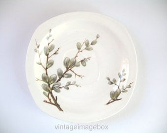 Midwinter Pottery saucer, Pussy Willow design, vintage tableware, 1950s ceramic homeware