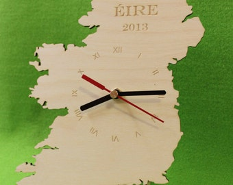 Custom Unigue Shape Bespoke IRELAND Country Clock. IRISH Map Wooden