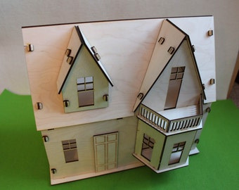 Wooden 3D Doll House Craft Kit Self-assembly Little Cottage