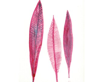 Pink Painting, Feathers, Magenta and Violet Original Watercolor Painting, Boho Pink Feathers