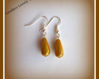 Yellow drop earrings - Yellow earrings - tibetans silver - drop earrings - Affortable earrings