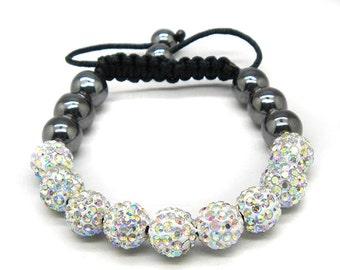 Shamballa Lovely AB Color Crystal Disco Fashion Macrame Adjustable Bracelet
