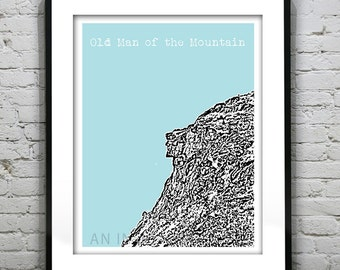 Old Man of the Mountain New Hampshire Poster Print Art Skyline  NH