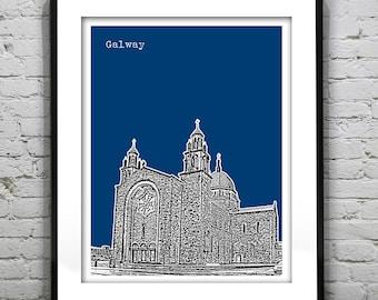Galway Skyline Poster Art Galway Cathedral Connacht Ireland