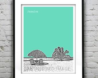 Jamaica Poster Art Print Skyline Tropical Beach Honeymoon