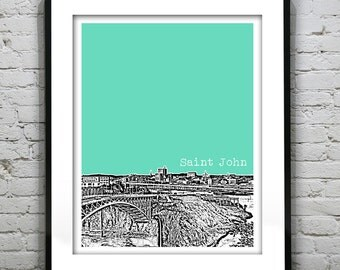 1 Day Only Sale 10% Off - Saint John New Brunswick Skyline Poster Art Print Canada