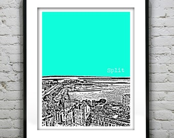 Split Croatia City Harbor Skyline Poster Art Print