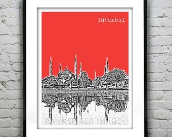 Istanbul Turkey City Skyline Poster Art Print Blue Mosque Version 2