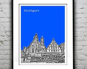 Stuttgart Germany City Skyline Poster Print Art