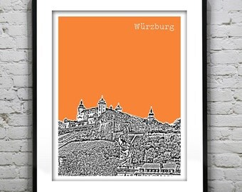 Würzburg Germany City Skyline Poster Print Art Fortress Marienberg