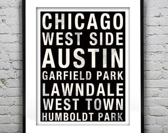 Chicago West Side Poster Subway Art llinois Print IL Garfield Park Lawndale West Town Austin