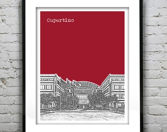 Cupertino California Skyline Art Print Poster CA Version 1