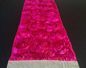 Hot Pink Rosette Table Runner w/sequined crystal edge
