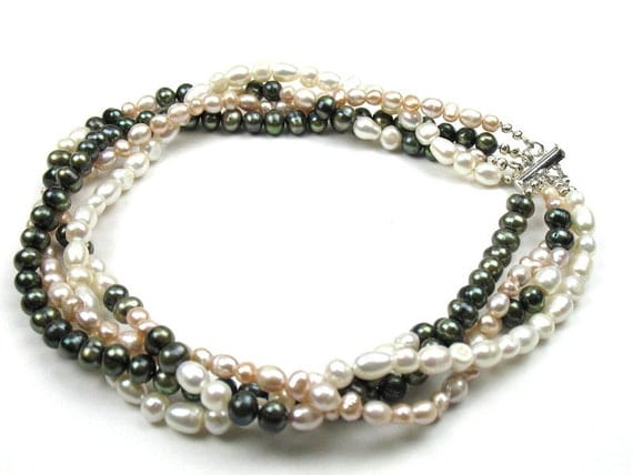 Statement Necklace with Freshwater Pearls in an Intertwined Strand Design