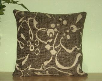 "Dark grey - ivory - beige - decorative - velvet -  luxury - handmade -throw pillow - cushion - cover - 33 cm x 33 cm (13"" x 13"")"
