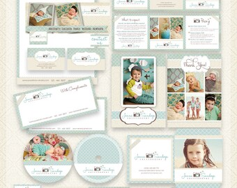 22 PIECE Marketing Set / Photography Marketing Set / Branding Templates - editable layered  PSD - Turquoise and cream - Instant Download
