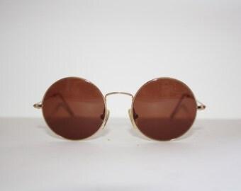 John Lennon Vintage Sunglasses Round Metal Planet 2000 Hippie Teashades, Made in Italy