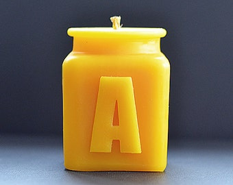 Handmade Personalized Letter A Monogram Beeswax Candle, Table Number, Bridesmaid Gifts, All Letters and Numbers Available