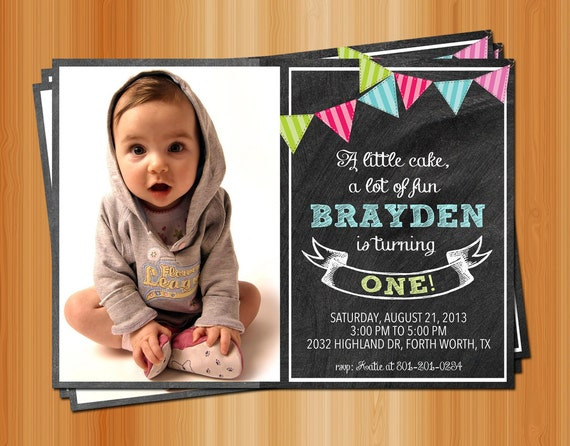 First Birthday Invitation / Custom Photo & Colors / Printable